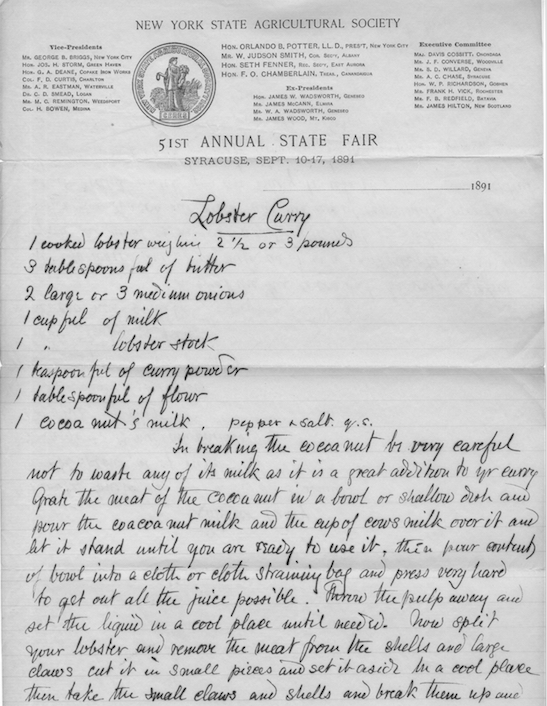 Recipe for Lobster Curry on State Agricultural Society Letterhead