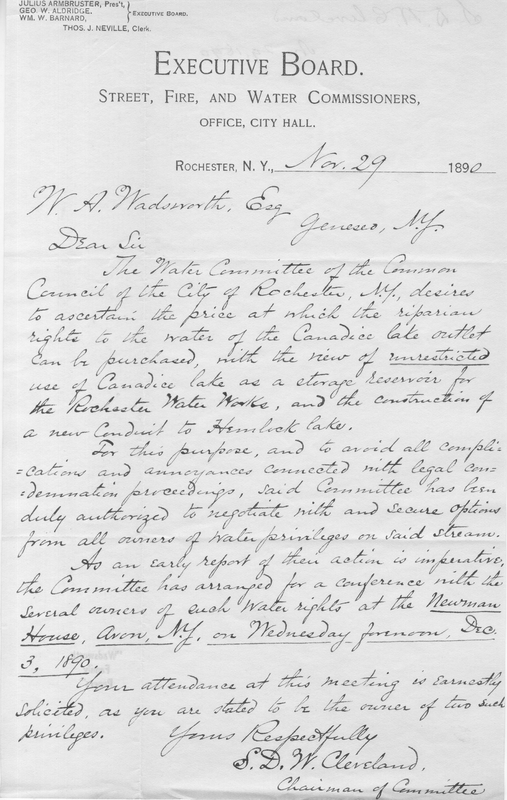 Letter from the Executive Board of Rochester's Street, Fire, and Water Commissioners to William A. Wadsworth