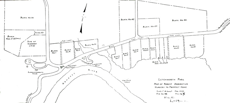 Letchworth Park: Map of Forest Arboretum, Nursery to Prospect home