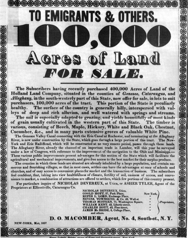 Broadside advertising land for sale in Western New York, 1837