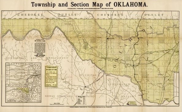 Township and Section Map of Oklahoma, 1889