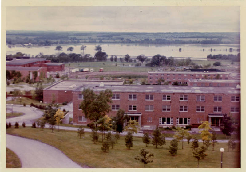 View of the Geneseo Flats looking west across the SUNY Geneseo campus during the flood of 1972<br />