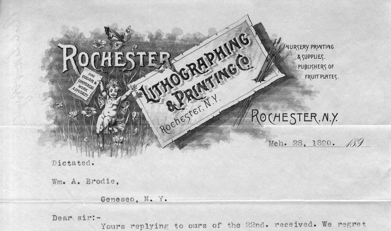 Rochester Lithograph and Printing: letter to William A. Brodie