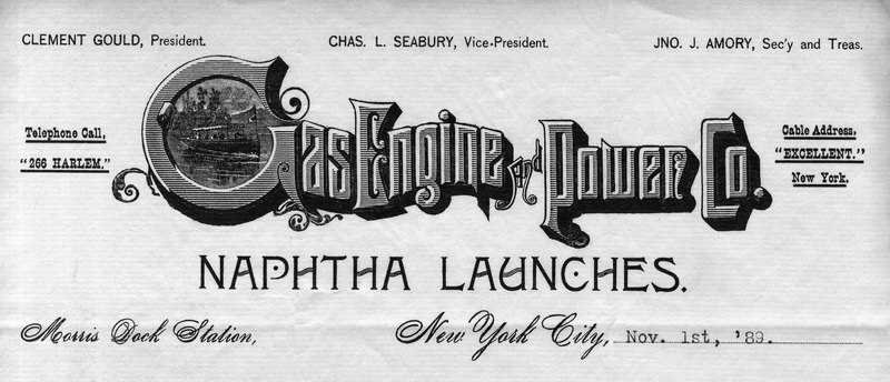 Gas Engine and Power Co. letterhead