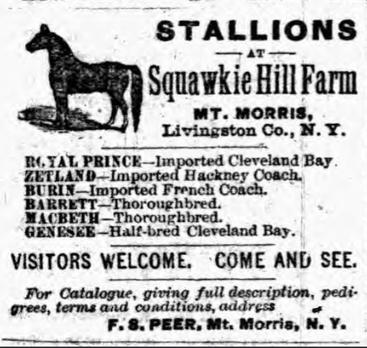 Squawkie Hill Farm newspaper advertisement from 1887