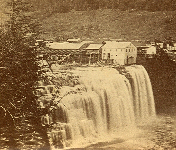 Stereopticon card: Middle Fall of Genesee, at Portage, NY