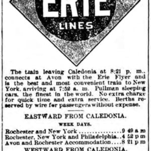 Timetables for Erie Railroad Station, Caledonia NY