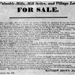 Advertisement for mills and mill properties for sale in Rochester, N.Y., 1828
