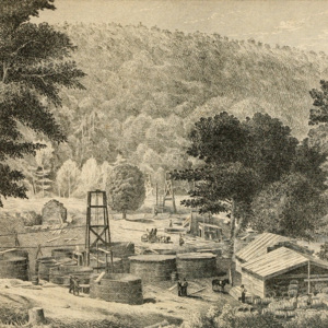 Oil Creek drilling operation, ca 1864