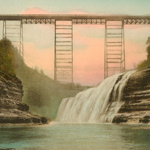 Upper Falls and Portage (Erie R.R.) Bridge, Letchworth State Park, N.Y.