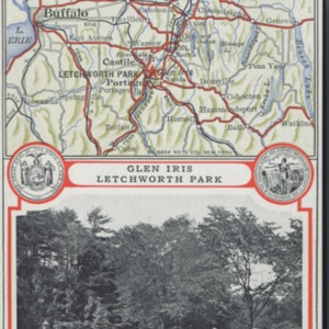 Private Post Card: Map Showing Best Automobile Routes to Glen Iris--Letchworth Park